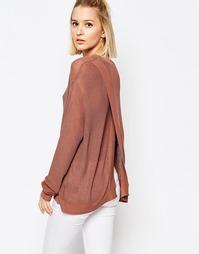 Длинный вязаный джемпер с открытой спиной Weekday - Светло-коричневый
