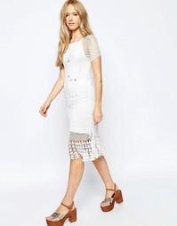 Платье кроше ASOS Revive - Кремовый