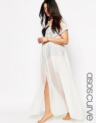 Пляжное кимоно макси с вышивкой ASOS CURVE - Кремовый