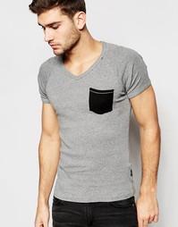 Серая меланжевая футболка с карманом Replay - Серый меланж