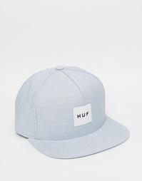 Бейсболка из шамбре с блочным логотипом HUF - Синий