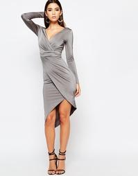 Асимметричное платье с длинными рукавами и запахом спереди Lipsy