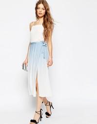 Плиссированная юбка миди с запахом и эффектом омбре ASOS - Синий