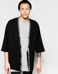 Черный удлиненный кардиган‑кимоно с ацтекским принтом ASOS - Черный
