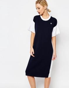 Вязаное платье‑футболка миди с контрастной спинкой adidas Originals by