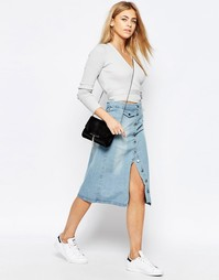 Джинсовая мини-юбка на пуговицах Boohoo - Синий