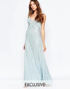 Декорированное платье макси с глубоким вырезом Frock and Frill