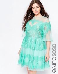 Платье из органзы с кружевными вставками ASOS CURVE SALON - Мятный