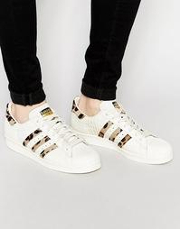 Кроссовки в стиле 80‑х с эффектом ворса пони adidas Originals Supersta