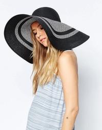 Широкополая соломенная шляпа в стиле oversize с монохромными полосками Asos