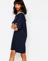 Платье с контрастной матросской отделкой Monki - Темно-синий