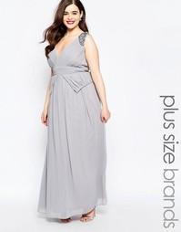Платье макси с глубоким вырезом, отделкой и баской на талии Little Mis