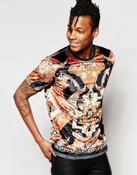 Бархатная футболка с принтом в гобеленовом стиле Jaded London - Черный