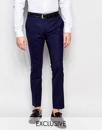 Шерстяные супероблегающие брюки скинни Heart & Dagger - Темно-синий