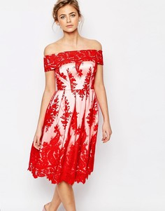 Кружевное премиум платье‑бандо миди Chi Chi London - Красный