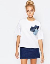Кремовый укороченный топ с джинсовыми карманами Mini - Белый