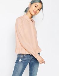 Повседневная рубашка с рюшами по низу ASOS - Розовый