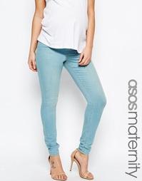 Зауженные джинсы цвета морской волны для беременных ASOS Maternity Lis