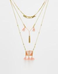 Многоярусное ожерелье с бусинами и кисточками Glamorous - Золотой