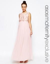 Платье макси с декоративной отделкой и шифоновой юбкой ASOS Maternity