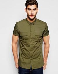 Рубашка классического кроя в стиле милитари цвета хаки ASOS - Хаки