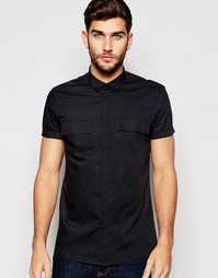 Черная рубашка в стиле милитари с двумя карманами ASOS - Черный