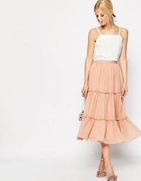 Ярусная юбка миди ASOS - Blush