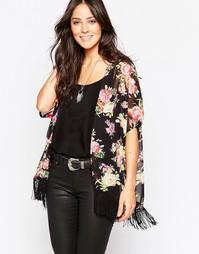 Кимоно с цветочным принтом AX Paris - Черный