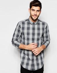 Серая меланжевая рубашка классического кроя в клетку ASOS - Серый