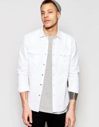 Белая джинсовая рубашка классического кроя в стиле вестерн ASOS