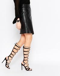 Босоножки на каблуке и шнуровке ASOS HEADQUARTER - Черный