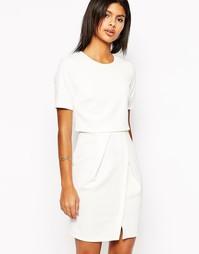 Фактурное двухслойное платье‑футляр мини ASOS - Кремовый