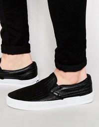 Черные кожаные кеды-слипоны Vans V3Z4IDS - Черный