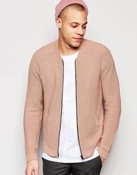 Розовая вязаная куртка пилот ASOS - Розовый