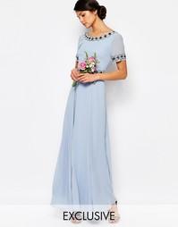 Платье макси с пышной юбкой и отделкой Maya - Кашемировый синий