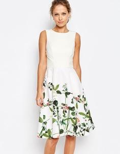 Платье с принтом Ted Baker Secret Trellis - Кремовый