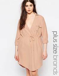 Платье-рубашка с V-образным вырезом и завязкой Missguided Plus