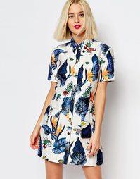 Платье-рубашка с принтом House of Holland - Кремовый многоцветный