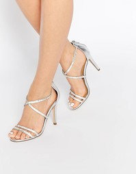 Серебристые сандалии на каблуке ALDO Arenani - Серебряный
