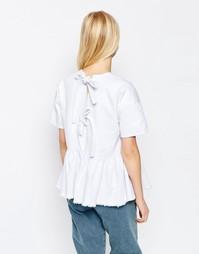 Белый джинсовый топ с завязками сзади и баской ASOS - Белый