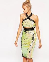 Расшитое пайетками платье с вырезом Lashes Of London Friday Night