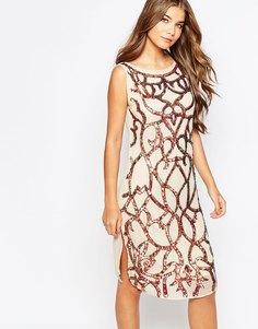 Цельнокройное платье с пайетками True Decadence - Кремовый