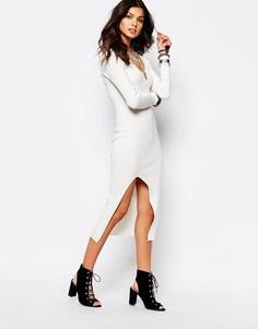 Трикотажное платье в рубчик с разрезом Noisy May - Белый