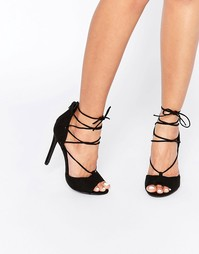 Туфли на каблуке с открытым носком и шнуровкой Boohoo - Черный