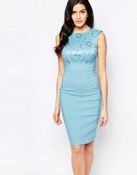 Платье-футляр миди с кружевным лифом City Goddess - Бледно-синий