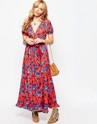 Платье макси с запахом спереди и принтом пейсли ASOS - Мульти