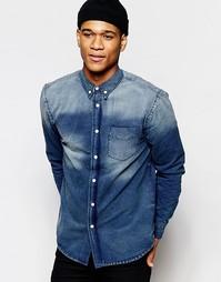 Темно-синяя джинсовая рубашка с эффектом поношенности Hoxton