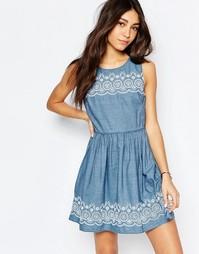Платье из шамбре с вышивкой по краю Jack Wills - Синий