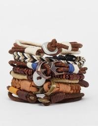 Комплект кожаных браслетов в светло-коричневой гамме ASOS - Коричневый
