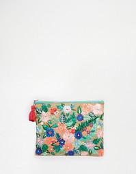 Клатч из джута с вышитыми цветами и помпоном Star Mela - Естественный